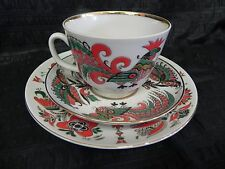 Antique Signed Russian Lomonosov Rooster Themed Cup Saucer and Plate 3 Pieces