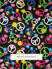 Peace Sign Cotton Fabric Paint Splat Peace Hippie Flower Child On  Black ~ Yard