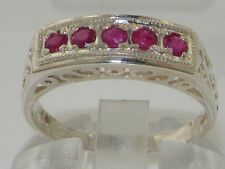 Rare Solid 925 Sterling Silver Natural Ruby Ladies Antique style Eternity Ring