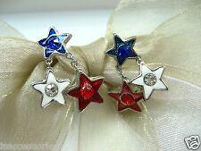 Red White Blue US American Stars Crystal Rhinestone Earrings