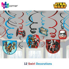 STAR WARS PARTY SUPPLIES SWIRL DECORATIONS 12 FOIL HANGING PARTY DECORATIONS