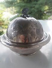 Antique Meriden B Company Silver Plate Covered Butter Dish 4932