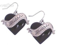 Guess Silver Heart Earrings Black UBE81112 Valentines Day Gift Jewelry