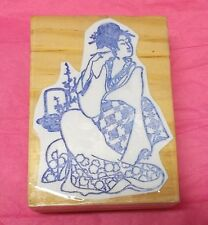 Asian Woman Lady rubber stamp Wood backed Kimono Sitting People stamps