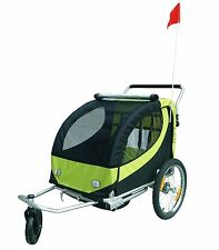 Double Swivel 3in1 Bicycle Bike Trailer Baby Kid Stroller Jogger Carrier Green