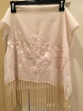Ivory Embroidered Silk Wrap Shawl Scarf Oblong with Fringes