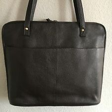 Latico Pebbled Leather Slim Zip Around Business Laptop Brief Shoulder Tote