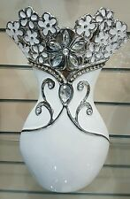 ITALIAN CERAMIC VASE LUXURY  WHITE  STONE  DESIGN. GIFT ITEM