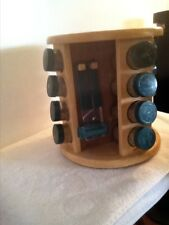 M.Kamenstein Wood Revolving 16 Glass Jar Spice Rack & Utensil Holder