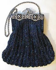 Antique Silver T Frame Navy Crochet Knit Black Iridescent Peacock Bead Purse 362