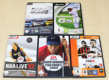 5 PC SPIELE SAMMLUNG SPORT TIGER WOODS PGA 2004 NBA LIVE 07 FIFA FOOTBALL DTM 14