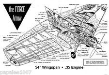"Model Airplane Plans (UC): FIERCE ARROW 54"" Stunter for .35 by Bill Netzeband"