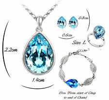 AUSTRIAN CRYSTAL TEAR DROP TURQUOISE SET KP17 NECKLACE EARRINGS RING BRACELET