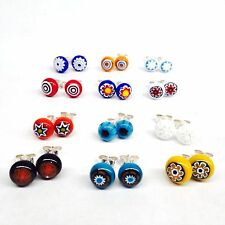 10 Pairs Of Assorted Murano Millefiori Glass Stud Earrings