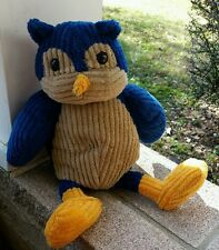 """Old Navy Owl Chenille Corduroy 16""""plush stuffed animal toy blue,taupe,gold 2009"""