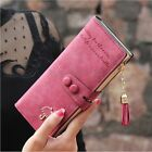Women Leather Purse Card Holder Long Wallet Clutch Tassel Zipper Button Handbag
