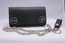 New 6 inch Biker Wallet Iron Cross Genuine Leather USA Trucker Wallets Punk Rock