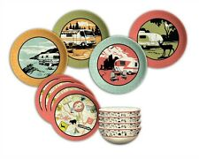 Melamine Dinnerware Set 12 PC Casual Retro Fun Unique Camp RV Party Tailgate New