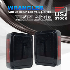 Pair Smoked LED Reverse Tail Lights Brake Rear Lamps For 07-16 Jeep Wrangler JK