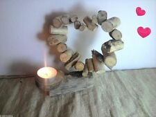 Driftwood Heart Shabby Chic Hand Crafted Candle Tea Light Holder Gift