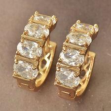 Cool 9k Yellow Gold Filled Swarovski Crystal Ladies Hoop Earrings F3963