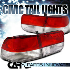Fit Honda 96-00 Civic 2Dr Coupe Tail Lights Brake Stop Rear Lamp Red Clear