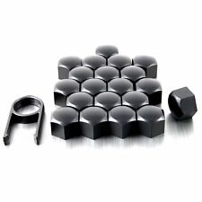 20 MATT BLACK ALLOY CAR WHEEL NUTS BOLTS CUP COVERS 19 mm UNIVERSAL FOR VW