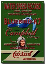 BLUEBIRD K7 WATER SPEED RECORD ATTEMPT METAL SIGN.DONALD CAMPBELL.CASTROL OILS.