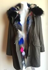 NWT ARMY By Yves Salomon Multicolored Fox Fur Lining Winter Parka Coat $3150 L