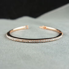 14k rose Gold plated Swarovski elements brilliant crystals bangle bracelet