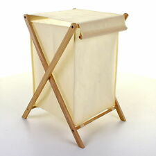 LAUNDRY BASKET FOLDING WOODEN FRAME CANVAS BAG WASHING CLOTHING CLOTHES CLEANING