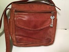 Fossil classic brown leather organizer bag
