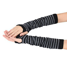 Unisex Winter Wrist Arm Hand Warmer Knitted Stripe Long Fingerless Gloves Mitten