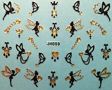 Nail Art 3D Decal Stickers Butterfly Fairy Butterflies Fairies Hearts JH059