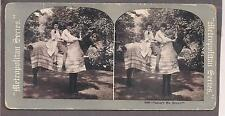 Young ladies on horse c. 1910 funny stereo photo