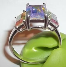 SETA 925 Sterling Silver Iridescent Ring Size 9 Three Stone Fashion Jewelry
