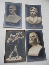 Collection of 4  Vintage Unused Postcards of Famous people -Schumann /Thirst etc