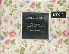 Laura Ashley Spring Bloom Pink Floral King Size Sheet Set ▬ New ▬ 4 Pieces ▬