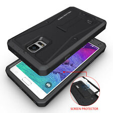 For Samsung Galaxy Note 4 Hybrid Rugged Protective Armor Impact Stand Case Film