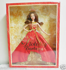 NIB 2014 Holiday Barbie wBrunette Hair An Exclusive!! Never removed from Box FS