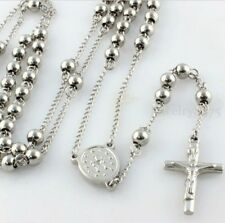 Fashion Silver Mens Stainless Steel 4mm Round Beads Rosary Chain Necklace 28inch