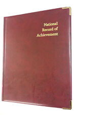 NATIONAL RECORD OF ACHIEVEMENT PVC FOLDER IN BURGUNDY LEATHER LOOK - GOLD PRINT