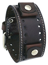 Nemesis STH-BB Dark Brown Wide Leather Cuff Watch Wrist Band