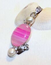 """PINK AGATE w/ 2 PEARLS 925 STAMP STERLING SILVER PENDANT 2"""" NEW-CHARM NECKLACE"""