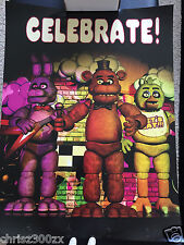 "Five Nights At Freddys FNAF Fazbear Celebrate Poster 24"" x 18"" 100lb OFFICIAL"