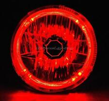 """7"""" Halogen Crystal Clear Red LED Halo Ring H4 Light Bulb Motorcycle Headlight"""