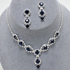 ELEGANT Jewelry SAPPHIRE BLUE Bridal Prom Pageant Formal Crystal Necklace Set