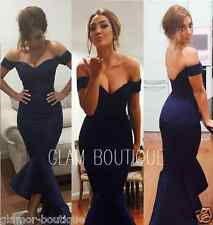 NEW OFF SHOULDER NAVY MERMAID PEPLUM FISHTAIL MIDI DRESS SIZES 6 8 10 12 14 16