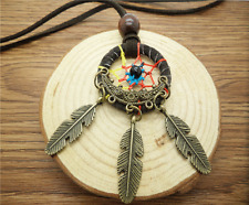 NEW Retro Handmade Dreamcatcher Feathers With Bead Long Chain Black Necklace DF0
