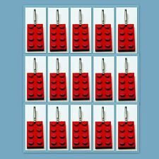 15 Lot Zipper Pull with LEGO 2x4 Red Plate Charm Book Bag School Bag Backpack